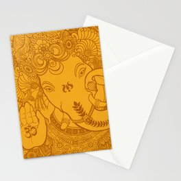 Ganesha Lineart Yellow Stationery Cards