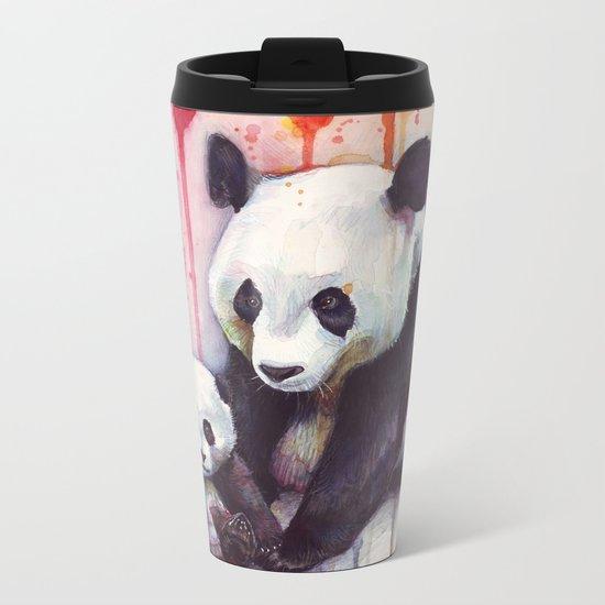 Pandas and Rainbow Watercolor Mom and Baby Panda Nursery Animals Metal Travel Mug