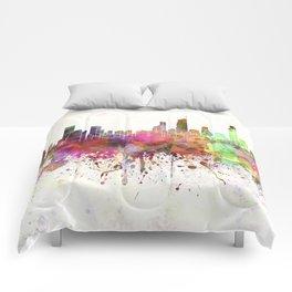 Gold Coast skyline in watercolor background Comforters