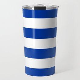 Dark Princess Blue and White Wide Horizontal Cabana Tent Stripe Travel Mug