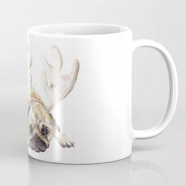 Christmas Pug in Antlers Coffee Mug