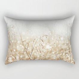 Dewdrop Nature Photography, Neutral Dew Drop, Gold White Brown Beige, Cream Water Drops Rectangular Pillow