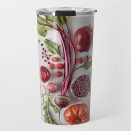 Red Organic Fruits and Vegetables Travel Mug