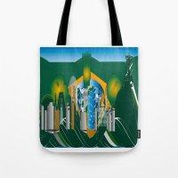 rio de janeiro Tote Bags featuring Rio de Janeiro skyline by siloto