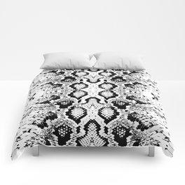 Snake skin texture. black white. simple ornamen Comforters