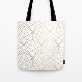 Geometric Gold Pattern With White Shimmer Tote Bag