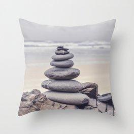 Stone Tower At A Wild Portuguese Beach Throw Pillow