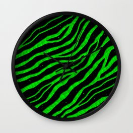 Ripped SpaceTime Stripes - Green Wall Clock