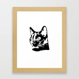 Black cat with big eyes Framed Art Print