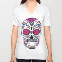 sugar skull V-neck T-shirts featuring Sugar Skull by Laura Maxwell