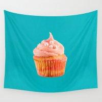 mandie manzano Wall Tapestries featuring Cupcake Love   Pink & Pearls on Aqua by Mandie Marie