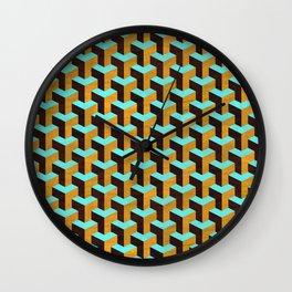 Aqua and Tan Geometric Marquetry Pattern Wall Clock