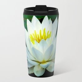 Blue water reflections- lily pad flower Travel Mug