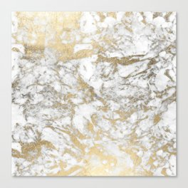 Modern chic faux gold white elegant marble Canvas Print