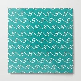 Wave Pattern | Waves | Nautical Patterns | Teal and White | Metal Print