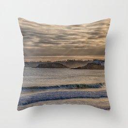 Sunbeams at Cape Hedge Beach Throw Pillow