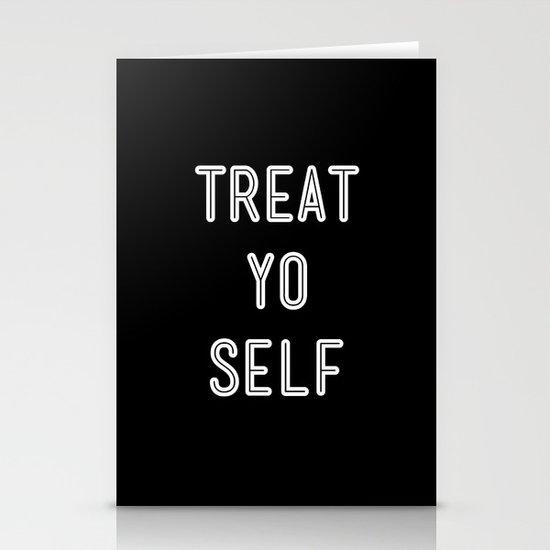 Treat Yo Self Black Stationery Cards