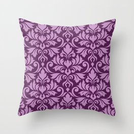 Flourish Damask Big Ptn Pink on Plum Throw Pillow