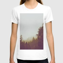 Olive Green Sepia Misty Pine Forest Landscape Photography Parallax Trees T-shirt
