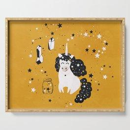 Stellar Unicorn with Stars in a Jar Serving Tray