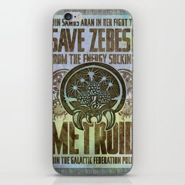Save Zebes! Metroid Geek Art Vintage Poster iPhone Skin