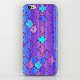 Moroccan Tile Pattern In Purple And Aqua Blue iPhone Skin