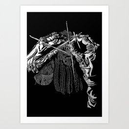 Geometric Black and White Drawing Kitting Hands Art Print