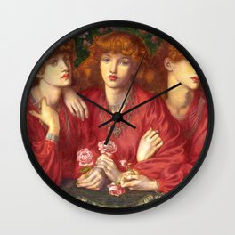"Dante Gabriel Rossetti ""Rosa Triplex: A triple portrait of May Morris"" Wall Clock"
