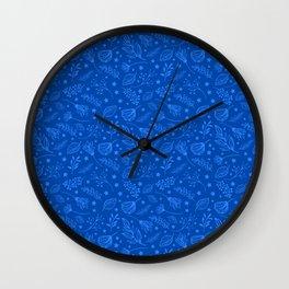 Cobalt Blue Leaf Pattern Wall Clock