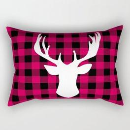Winter Plaid Deer Rectangular Pillow