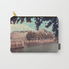 Paris Architecture and Seine River, Vintage Styled Carry-All Pouch