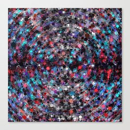 geometric circle and square pattern abstract in blue and red Canvas Print