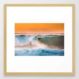 Sunset surfing in Hawaii Framed Art Print