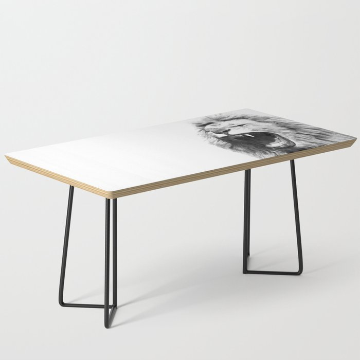 Black White Fierce Lion Coffee Table