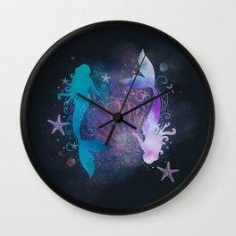 blue & purple mermaid #2 Wall Clock