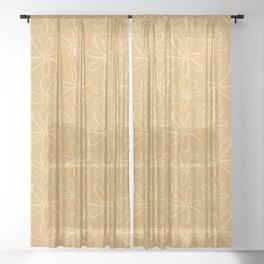 loopy daisy gold Sheer Curtain