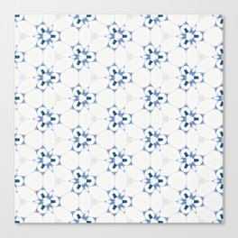 Blue White Abstract Pattern Canvas Print