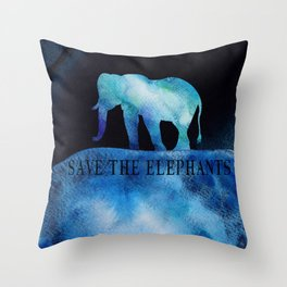 Save The Elephants Watercolor Painting Throw Pillow