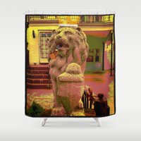 lion king Shower Curtains featuring Lion 'King' by ArtAngel