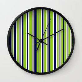 Lime Green Bright Navy Blue Gray and White Vertical Stripes Pattern Wall Clock
