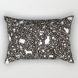 Black Ink Drawing with Cats, Bones, Skulls, Knives and Hearts. Rectangular Pillow