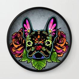 French Bulldog in Black - Day of the Dead Bulldog Sugar Skull Dog Wall Clock
