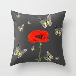 RED POPPY FLOWER & GREY BUTTERFLIES Throw Pillow