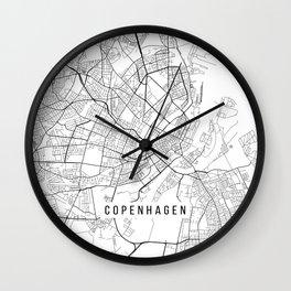 Copenhagen Map, Denmark - Black and White Wall Clock
