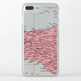 Vintage Map of Sicily Clear iPhone Case