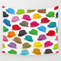 hat Wall Tapestries featuring Melon Hat by Helene Michau
