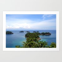 philippines Art Prints featuring Hundred Islands, Philippines 02 by berrygoochampagne
