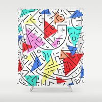 90s Shower Curtains featuring 90s pattern by molly ennis