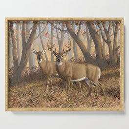 Whitetail Deer Trophy Buck and Doe in Autumn Serving Tray