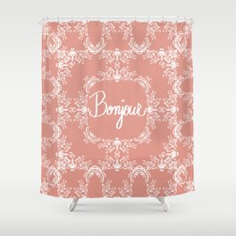 Bonjour - Autumn Peach Shower Curtain